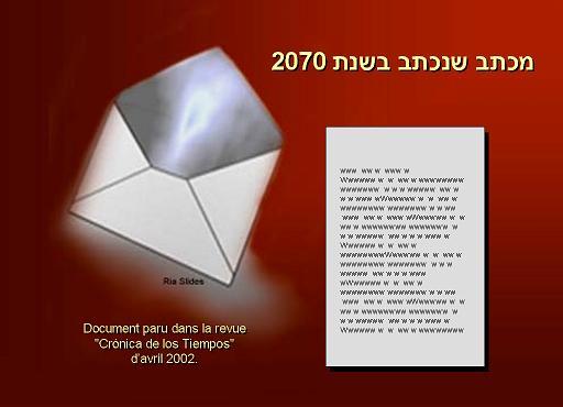מצבנו ב שנת 2070 על פי מכתב שכתב אדם הצמא למים