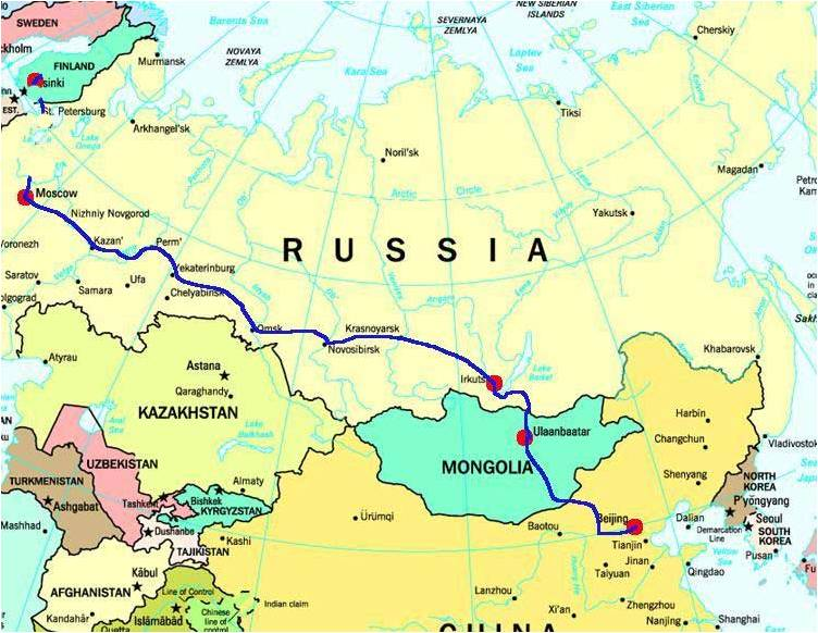 From Moscow to Beijing by train