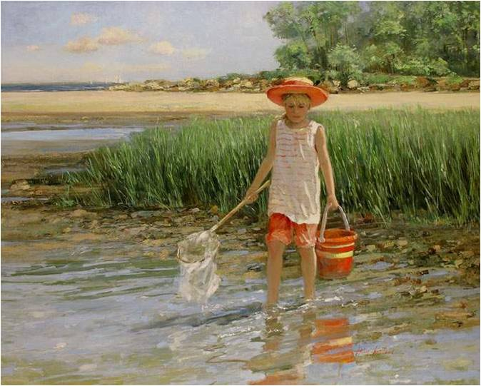 Fantastic Sally Swatland Paintings- Children on the beach