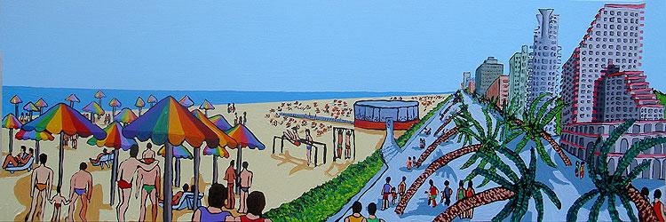 ציורים נאיבים של העיר תל אביב אמנות נאיבית רפי פרץ