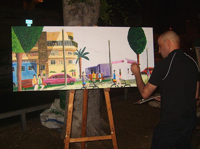 ציורים נאיבים של העיר תל אביב אמנות נאיבית ישראלית