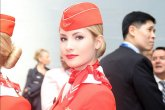 Stewardess in red